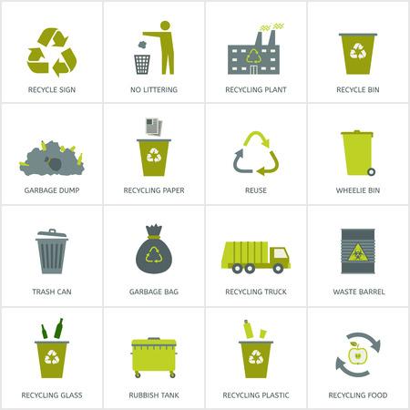 Ilustración de Recycling garbage icons set. Waste utilization. Vector illustration. - Imagen libre de derechos