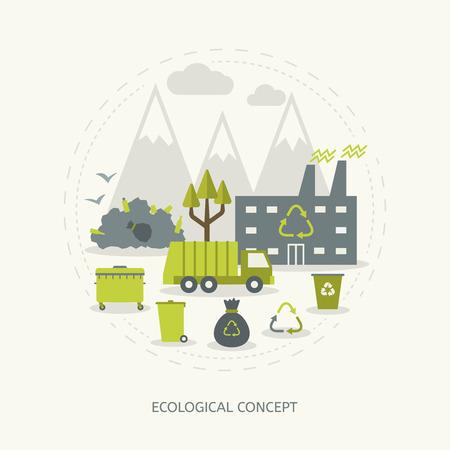 Ilustración de Ecologic recycling and waste utilization concept in flat style - Imagen libre de derechos