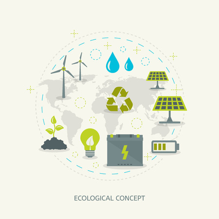 Ilustración de Ecologic recycling and renewable energy concept in flat style. Environmental background - Imagen libre de derechos
