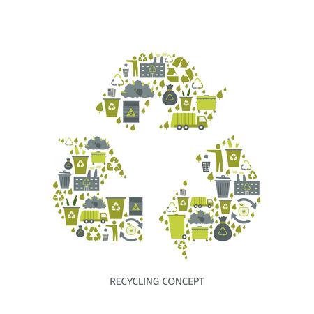 Ilustración de Recycling garbage icons concept. Waste utilization. Vector illustration - Imagen libre de derechos