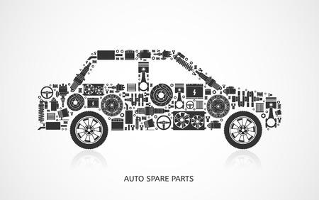 Illustration pour Set of auto spare parts. Car repair icons in flat style. Vector illustration EPS10. - image libre de droit