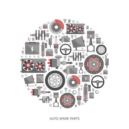 Illustration pour Set of auto spare parts. Car repair icons in flat style. Vector illustration - image libre de droit