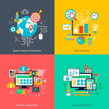 Illustration pour SEO optimization icons. Web development, internet marketing, web design, tags, target stratege, analysis - image libre de droit