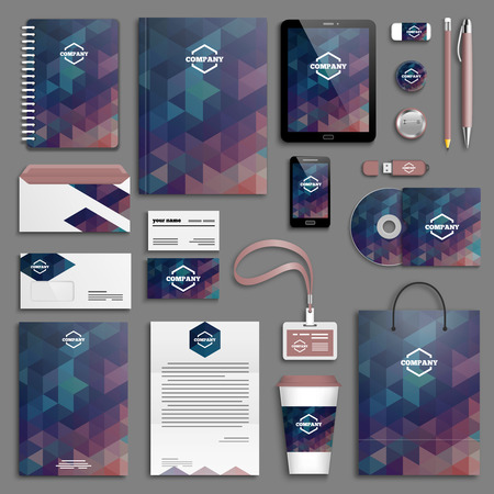 Illustration pour Corporate identity template set. Business stationery mock-up with logo. Branding design. - image libre de droit