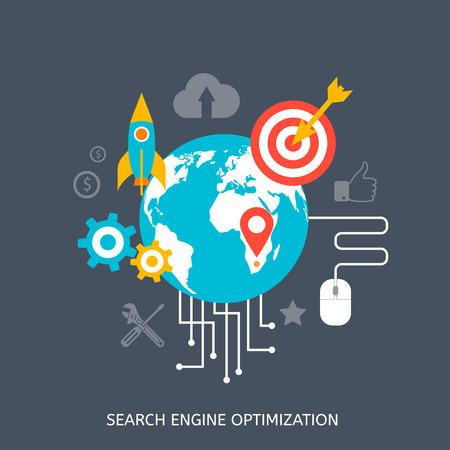 Ilustración de SEO optimization icons. Web development, internet marketing, web design, tags, target strategy, analysis - Imagen libre de derechos