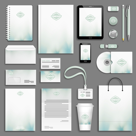Illustration pour Aqua green Corporate identity template set. Business stationery mock-up with logo. Branding design. - image libre de droit
