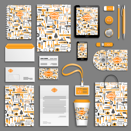 Illustration pour Work tools Corporate identity template set. Business stationery mock-up with logo. Branding design. - image libre de droit