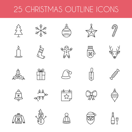 Christmas outline icons. Holiday New Year icons.