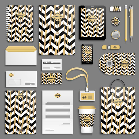Illustration pour Gold brush strokes and black and white stripes chevrons Corporate identity template set. Business stationery mock-up. Branding design. - image libre de droit