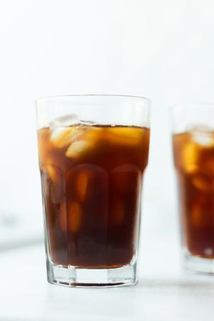 Foto de Cold brew. Coffee with ice on light background - Imagen libre de derechos