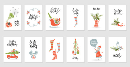Illustration pour Set christmas gift card designs. - image libre de droit