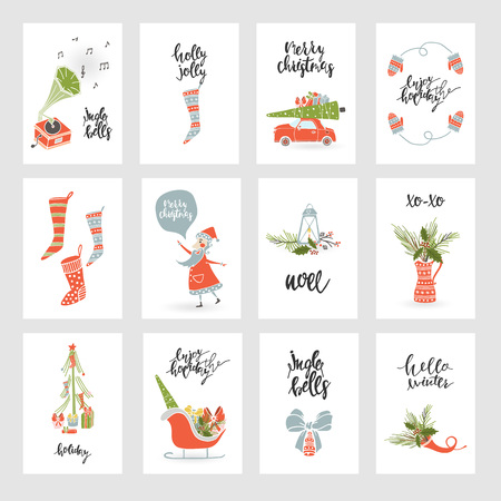 Illustration pour Collection Merry Christmas gift cards - image libre de droit