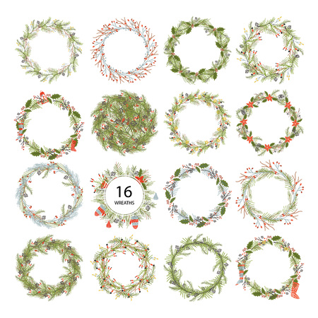 Illustration pour Cute hipster wreaths. - image libre de droit