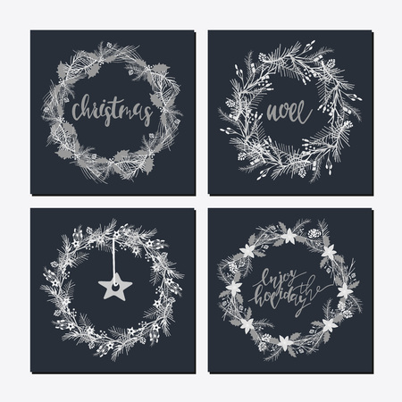 Illustration pour Cute hipster wreaths with different words and icon - image libre de droit
