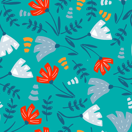 Ilustración de Trendy Floral pattern in the many kind of flowers. Botanical Motifs scattered random. Seamless vector texture. Printing with in hand drawn style. Printing with in hand drawn style on white background. - Imagen libre de derechos