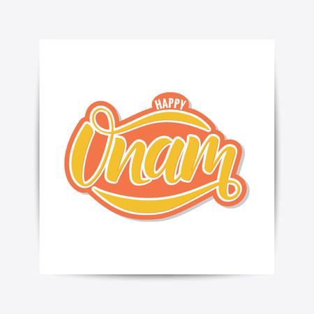 Ilustración de Happy Onam festival typography lettering - Imagen libre de derechos