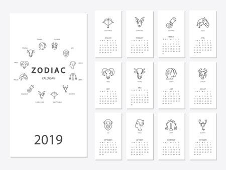 Illustration pour 2019 new year calendar - image libre de droit