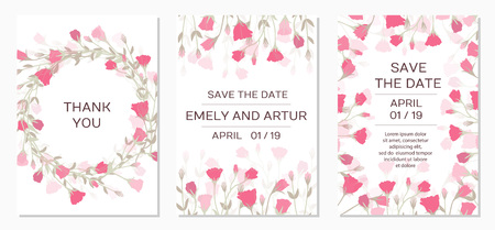 Ilustración de Wedding Invitation with rose eustoma. Romantic tender floral design for wedding invitation, save the date, I love you and thank you cards. Floral cards elegant templates. Vector illustration - Imagen libre de derechos