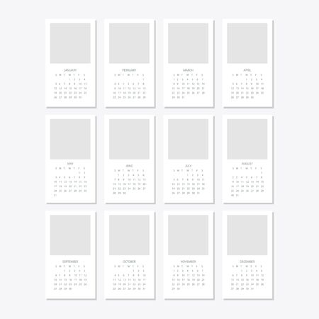 Illustration pour Set of minimalist calendars, years 2020 weeks start Sunday - image libre de droit