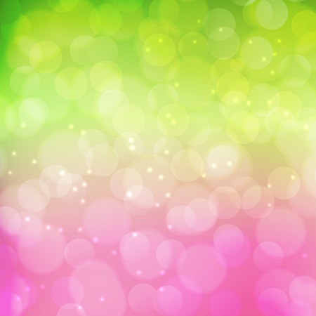 Ilustración de Spring bokeh background.  Green and pink colors. Vector illustration - Imagen libre de derechos