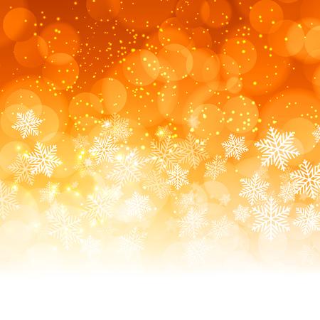 Illustration pour Winter Christmas orange snowflakes background. Vector illustration - image libre de droit