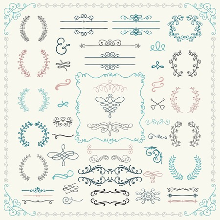Photo pour Colorful Vintage Hand Drawn Doodle Design Elements. Vector Illustration.  - image libre de droit