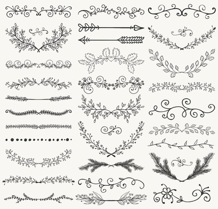 Ilustración de Set of Hand Drawn Black Doodle Design Elements. Decorative Floral Dividers, Arrows, Swirls, Laurels and Branches. Vintage Vector Illustration. Pattern Brashes - Imagen libre de derechos