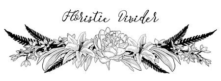 Illustration for Vector Delicate Floral Text Divider. Flower Design Element - Royalty Free Image