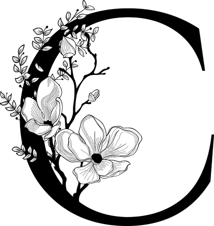 Illustration for Vector Hand Drawn floral C monogram - Royalty Free Image