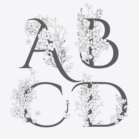 Ilustración de Vector Hand Drawn Flowered monograms. Uppercase Letters A, B, C, D with Flowers and Branches. Wildflowers. Floral Design - Imagen libre de derechos