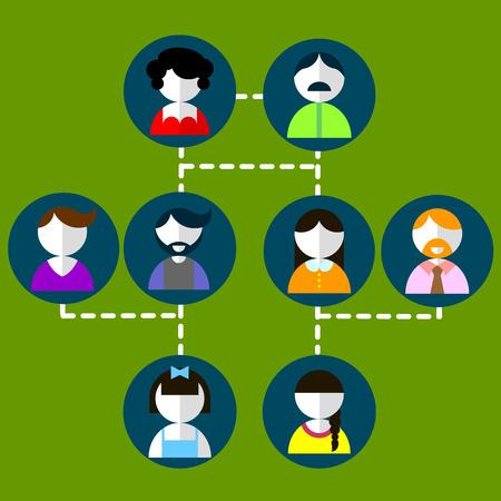 Illustration pour Cartoon illustration of three generation family tree Big family cartoon infographic elements. - image libre de droit