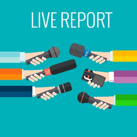 Illustration pour Journalism concept vector - set of hands holding microphones and voice recorders. Live news template. Press illustration. - image libre de droit