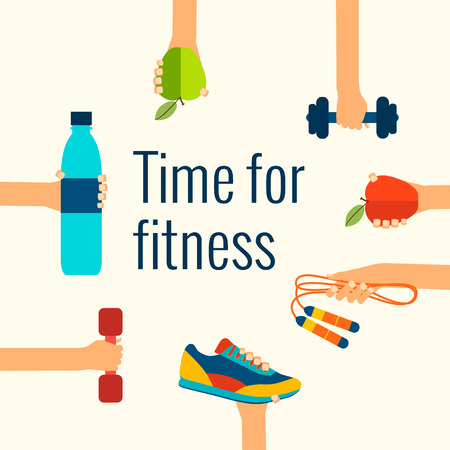 Ilustración de Fitness concept flat Isolated vector illustration and modern design element - Imagen libre de derechos