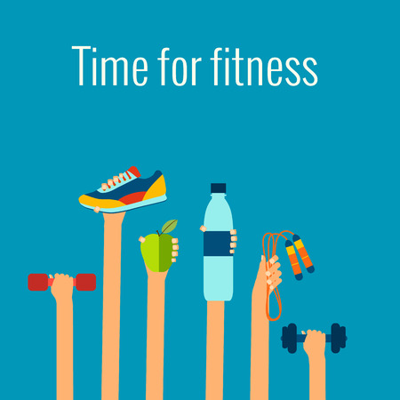 Foto de Fitness concept flat Isolated vector illustration and modern design element - Imagen libre de derechos