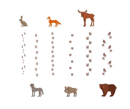 Illustration pour Forest animals with foot prints cartoon style colorful vector - image libre de droit