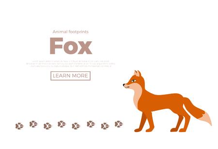 Ilustración de Forest animals with foot prints cartoon style colorful vector illustration - Imagen libre de derechos