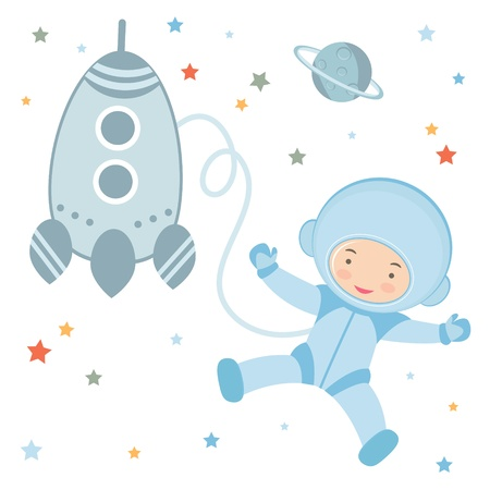 An illustration of Cute little astronaut in outer space mural