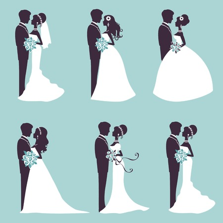Photo pour Illustration of Six wedding couples in silhouette in vector format - image libre de droit
