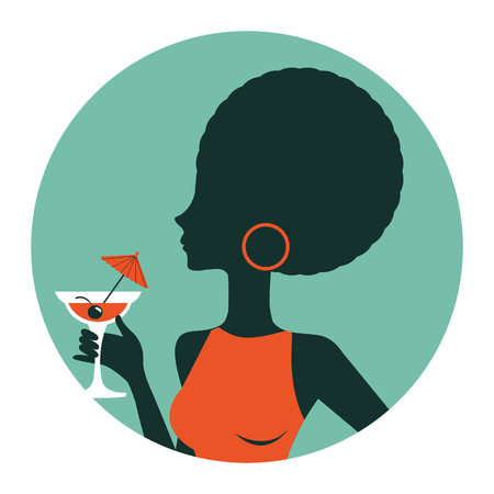 An illustration of beautiful woman holding cocktail. Illustration in vector format. Vintage style round composition