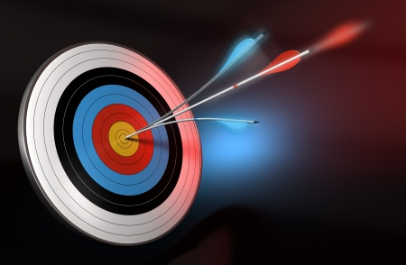 Foto de one blue arrow splitted with a red arrow hitting the center of a target, 3d render over black, blue and red background - Imagen libre de derechos
