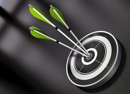 Photo pour 3 gren arrows hitting the center of a black target, concept of partnership over a black background - image libre de droit