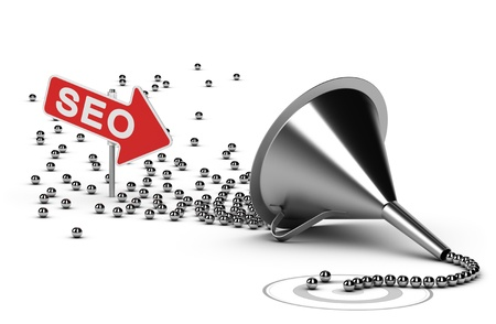 Foto de Funnel with many chrome balls at the output there is a grey target, at the enter there is an arrow with the word SEO - Abstract schematic 3D render concept image suitable for conceptual illustration of a seo campaign  - Imagen libre de derechos