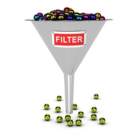 Photo pour One funnel with colorful balls, white background  Conceptual image suitable for web content filter concept   - image libre de droit