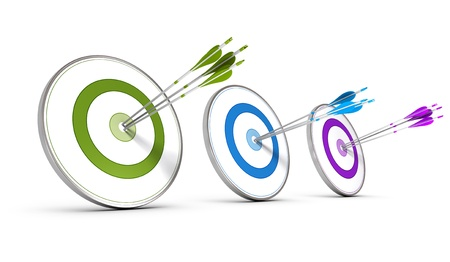 Photo for Three colorful targets with arrows hitting the center, concept image for achieving business objectives  - Royalty Free Image