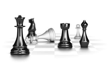 Photo pour Chess game with the white king in checkmate over white background - image libre de droit