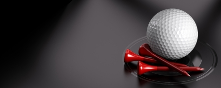 Photo pour Golf ball and red tee over black background with copy space on the left  Image suitable for an invitation card for golfing - image libre de droit