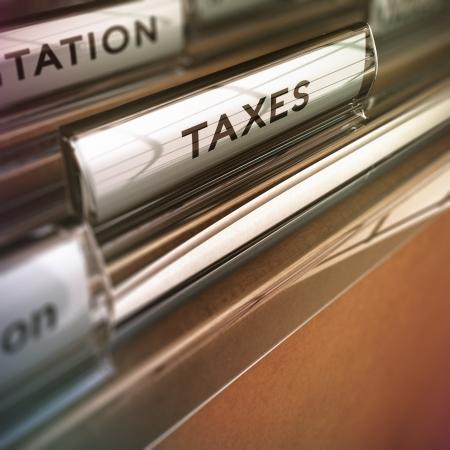 Photo pour Tax folder with vintage style with blur effect  Concept for financial pupose  - image libre de droit