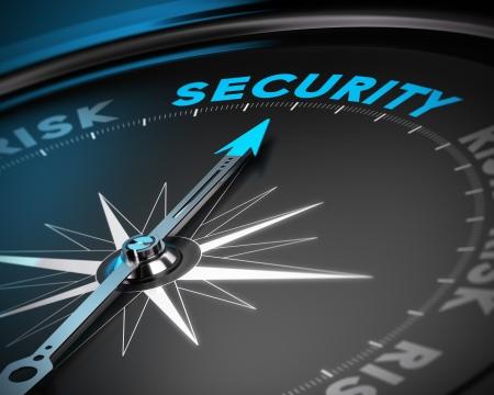 Photo pour Compass needle pointing the word security  Concept image blue and black tones - image libre de droit