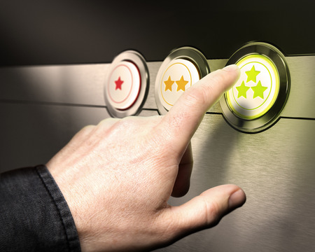 Foto de Three buttons from one to 3 stars with a finger pressing the green one symbol of client service satisfaction or customer retention   - Imagen libre de derechos