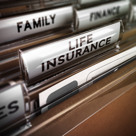 Foto de Close up on a file tab with the word life insurance, focus on the main text and blur effect. Concept image for illustration of family protection policy - Imagen libre de derechos